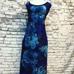 Avenue Cobalt Blue Floral Long Shift Dress